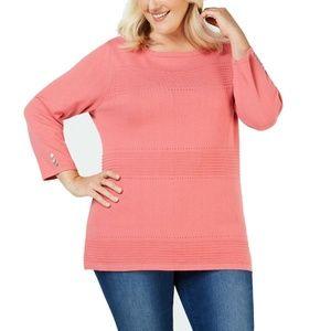 Women Plus Cotton Knit Pointelle Pullover Sweater